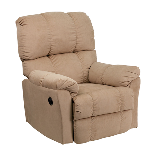 Contemporary Top Hat Coffee Microfiber Power Recliner [AM-P9320-4172-GG]