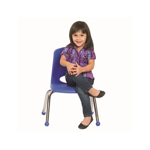 "ECR4Kids 12"" Stack Chair - Chrome Legs Blue with Glide, 6 Pack"