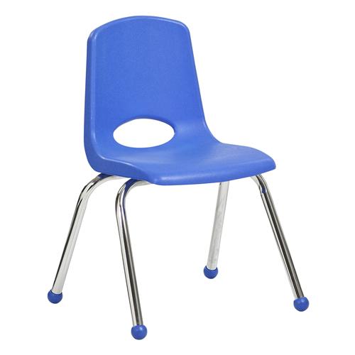 "ECR4Kids 14"" Stack Chair - Chrome Legs Blue, Standard Ball Glides, 6 Pack"