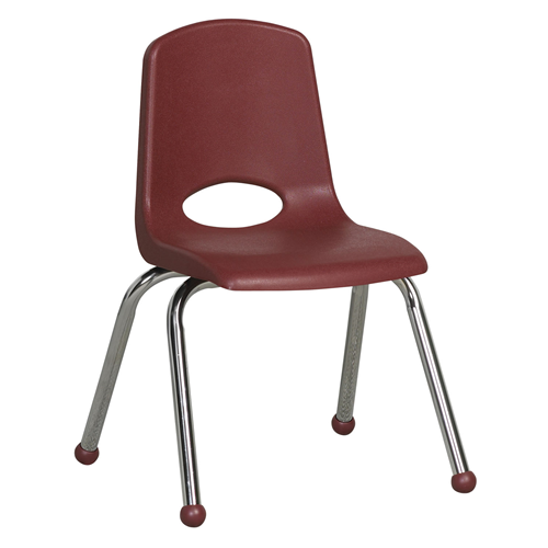 "ECR4Kids 14"" Stack Chair - Chrome Burgundy, 6 Pack"