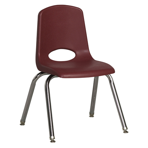 "ECR4Kids 14"" Stack Chair - Chrome with Standard Swivel Glides Burgundy, 6 Pack"