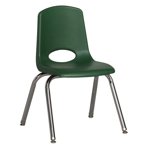 "ECR4Kids 14"" Stack Chair - Chrome with Standard Swivel Glides Green, 6 Pack"