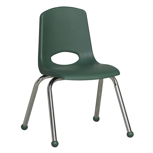 "ECR4Kids 14"" Stack Chair - Chrome Hunter Green, 6 Pack"