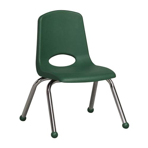 "ECR4Kids 12"" Stack Chair - Chrome Green, 6 Pack"