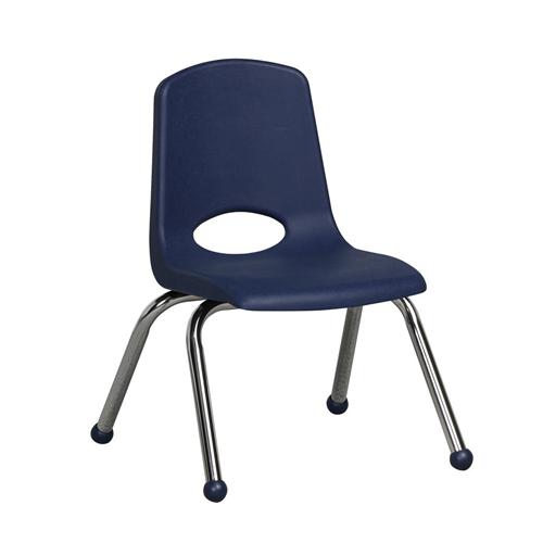 """ECR4Kids 12"""" Stack Chair - Chrome Navy, 6 Pack"""