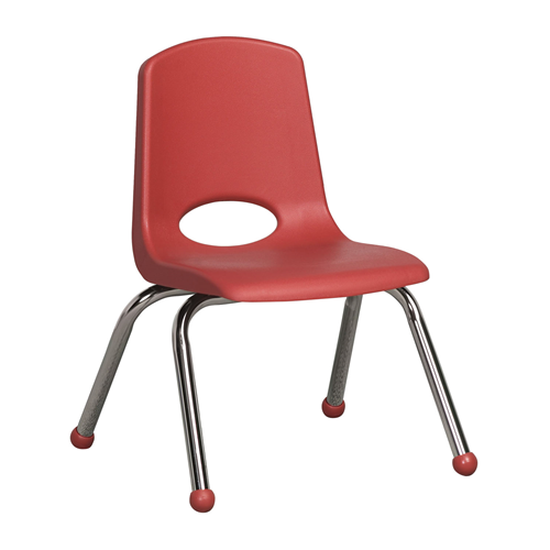 "ECR4Kids 12"" Stack Chair - Chrome Red, 6 Pack"