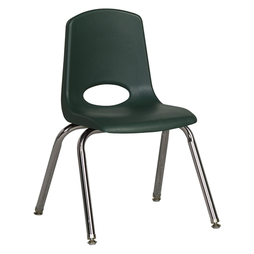 "ECR4Kids 14"" Stack Chair - Chrome with Standard Swivel Glides Hunter Green, 6 Pack"
