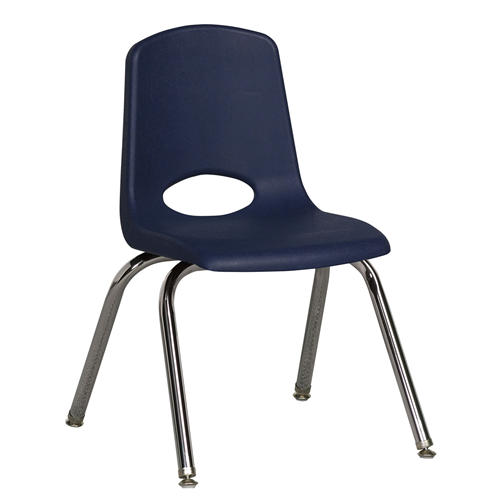 "ECR4Kids 14"" Stack Chair - Chrome with Standard Swivel Glides Navy, 6 Pack"