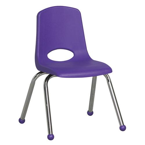 "ECR4Kids 14"" Stack Chair - Chrome Purple, 6 Pack"