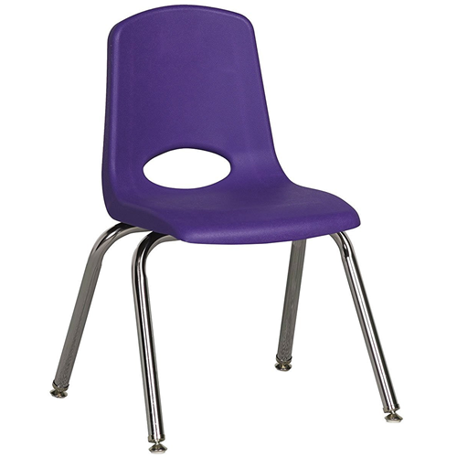 "ECR4Kids 14"" Stack Chair - Chrome with Standard Swivel Glides Purple, 6 Pack"