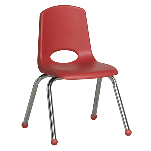 """ECR4Kids 14"""" Stack Chair - Chrome Red, 6 Pack"""