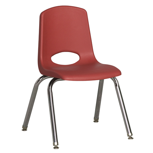 "ECR4Kids 14"" Stack Chair - Chrome with Standard Swivel Glides Red, 6 Pack"