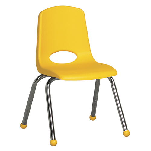 "ECR4Kids 14"" Stack Chair - Chrome Yellow, 6 Pack"