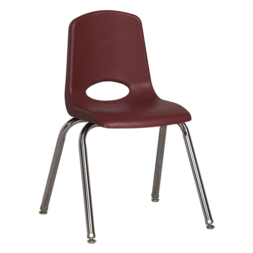 "ECR4Kids 16"" Stack Chair - Chrome with Standard Swivel Glides Burgundy, 6 Pack"