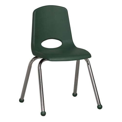 "ECR4Kids 16"" Stack Chair - Chrome with Standard Swivel Glides Hunter Green, 6 Pack"