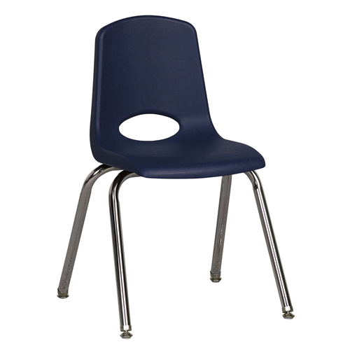 "ECR4Kids 16"" Stack Chair - Chrome with Standard Swivel Glides Navy, 6 Pack"