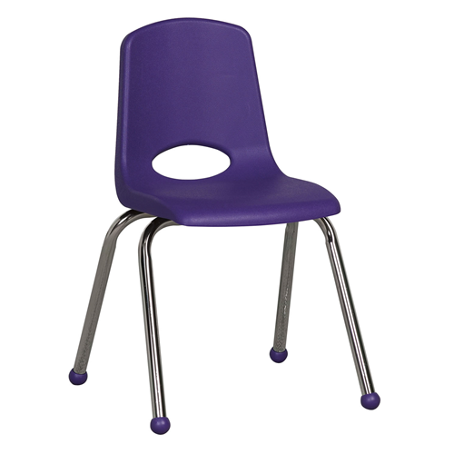 "ECR4Kids 16"" Stack Chair - Chrome Purple, 6 Pack"