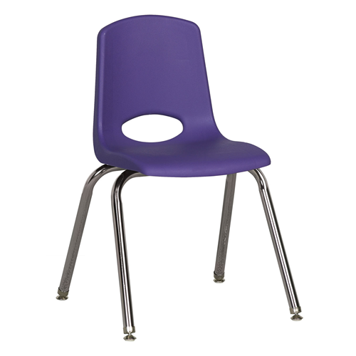 "ECR4Kids 16"" Stack Chair - Chrome with Standard Swivel Glides Purple, 6 Pack"