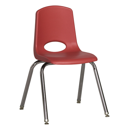 "ECR4Kids 16"" Stack Chair - Chrome with Standard Swivel Glides Red, 6 Pack"