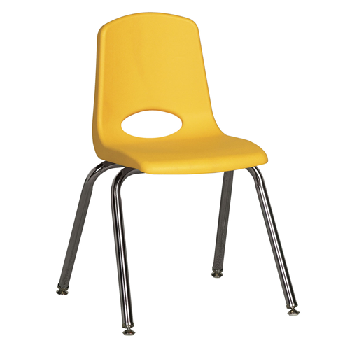 """ECR4Kids 16"""" Stack Chair - Chrome with Standard Swivel Glides Yellow, 6 Pack"""
