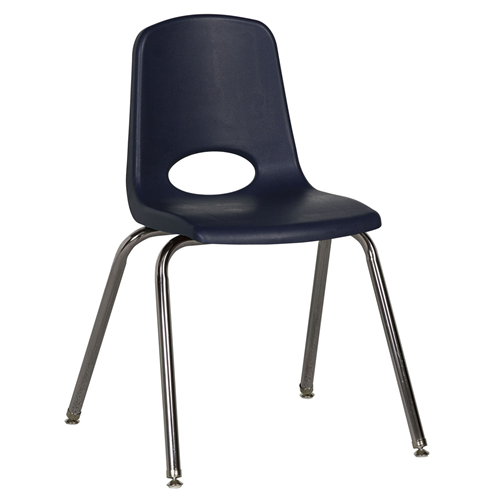 "ECR4Kids 18"" Stack Chair-Chrm Legs Navy with Glide, 5 Pack"
