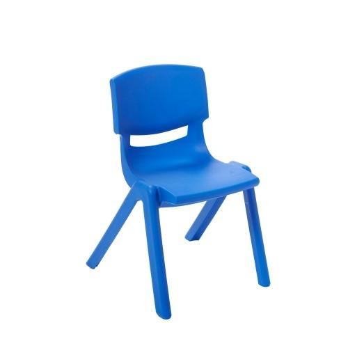 "ECR4Kids 12"" Resin School Stack Chair Blue, 6 Pack"