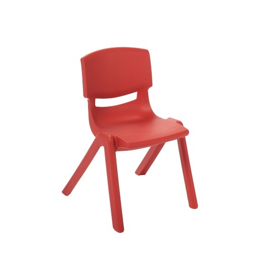 "ECR4Kids 12"" Resin School Stack Chair Red, 6 Pack"