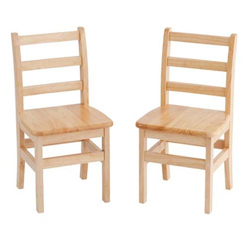 """ECR4Kids 16"""" Three Rung Ladderback Chair - Assembled, 2 Pack"""