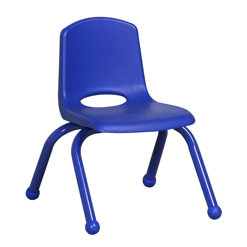 "ECR4Kids 10"" Stack Chair - Matching Legs Blue, 6 Pack"