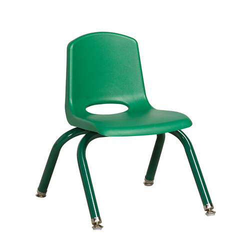 "ECR4Kids 10"" Stack Chair - Matching Legs Green, 6 Pack"