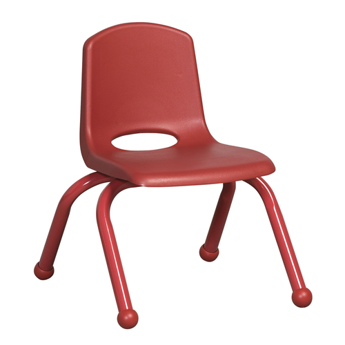 "ECR4Kids 10"" Stack Chair - Matching Legs Red, 6 Pack"