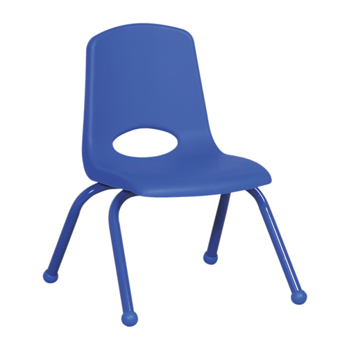 "ECR4Kids 14"" Stack Chair - Matching Legs Blue, 6 Pack"
