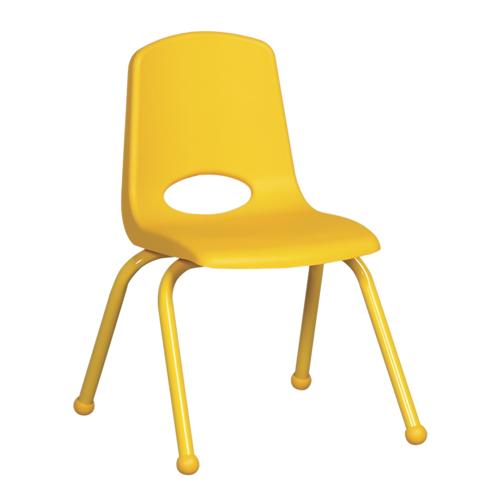 "ECR4Kids 14"" Stack Chair - Matching Legs Yellow, 6 Pack"