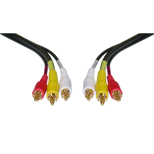 Stereo/VCR RCA Cable, 2 RCA (Audio) + RCA RG59 Video, Gold-plated Connectors, 12 foot