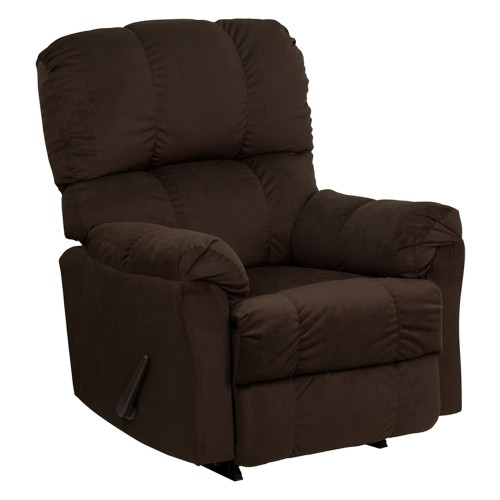 Offex Contemporary Top Hat Chocolate Microfiber Rocker Recliner