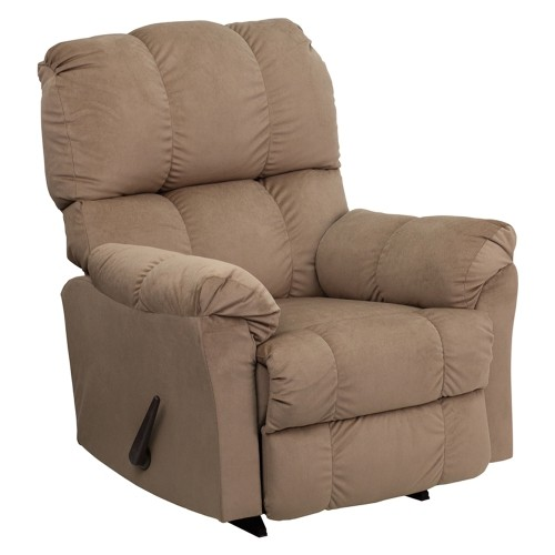 Contemporary Top Hat Coffee Microfiber Rocker Recliner [AM-9320-4172-GG]