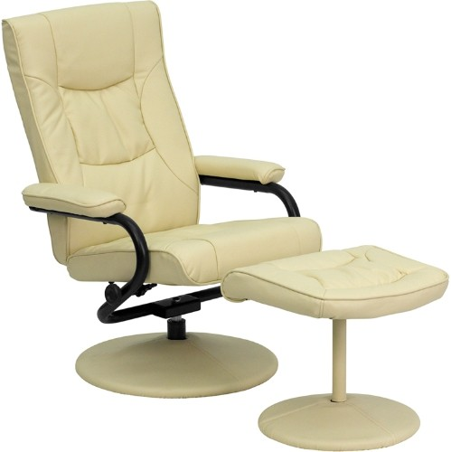 Contemporary Cream Leather Recliner and Ottoman with Leather Wrapped Base [BT-7862-CREAM-GG]