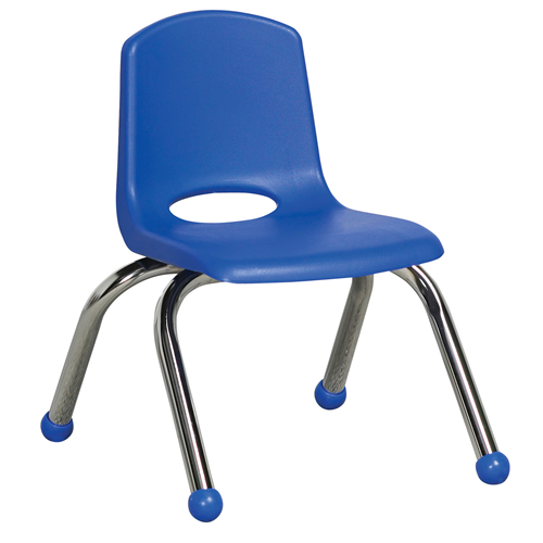 "ECR4Kids 10"" Stack Chair - Chrome Legs Blue, 6 Pack"