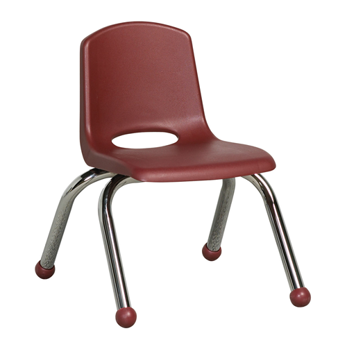 "ECR4Kids 10"" Stack Chair - Chrome Burgundy, 6 Pack"