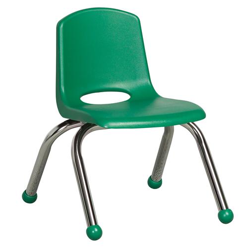 "ECR4Kids 10"" Stack Chair - Chrome Green, 6 Pack"