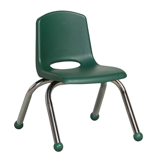 "ECR4Kids 10"" Stack Chair - Chrome Hunter Green, 6 Pack"