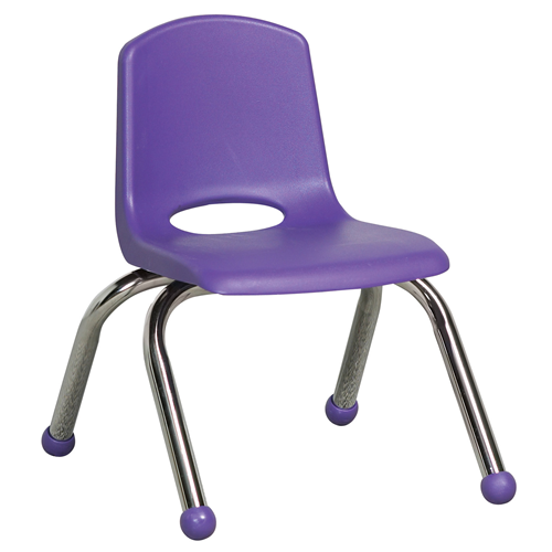 "ECR4Kids 10"" Stack Chair - Chrome Purple, 6 Pack"