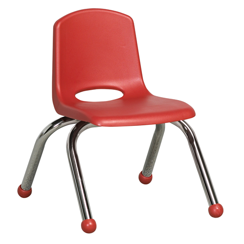 "ECR4Kids 10"" Stack Chair - Chrome Red, 6 Pack"