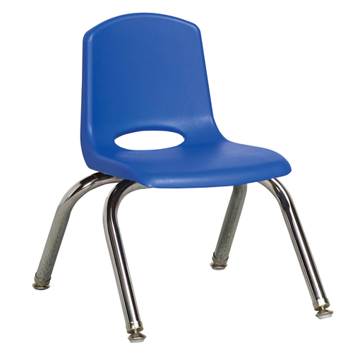 "ECR4Kids 10"" Stack Chair - Chrome Legs Blue with Glide, 6 Pack"