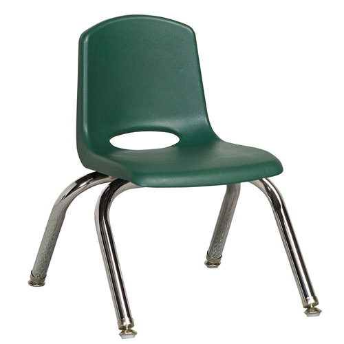 "ECR4Kids 10"" Stack Chair - Chrome with Standard Swivel Glides Hunter Green, 6 Pack"