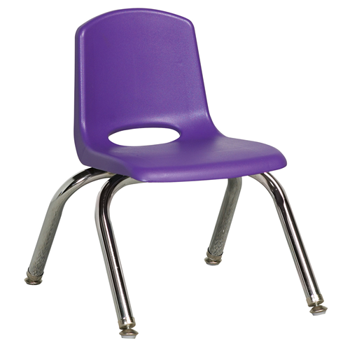 "ECR4Kids 10"" Stack Chair - Chrome with Standard Swivel Glides Purple, 6 Pack"
