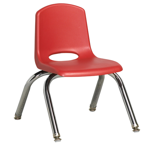 "ECR4Kids 10"" Stack Chair - Chrome with Standard Swivel Glides Red, 6 Pack"
