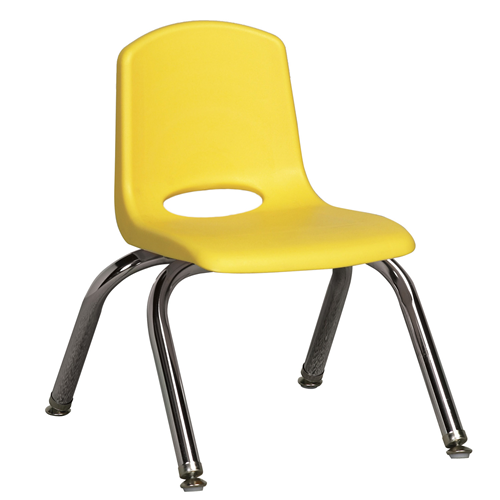 "ECR4Kids 10"" Stack Chair - Chrome with Standard Swivel Glides Yellow, 6 Pack"
