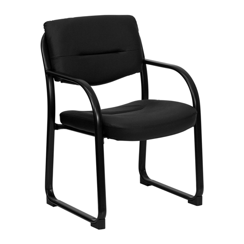 Black Leather Executive Side Chair with Sled Base [BT-510-LEA-BK-GG]