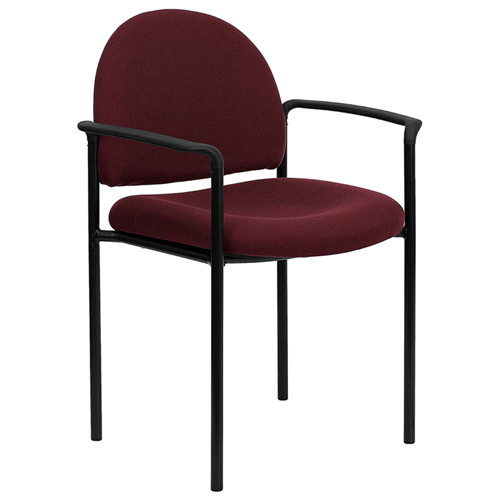 Burgundy Fabric Comfortable Stackable Steel Side Chair with Arms [BT-516-1-BY-GG]